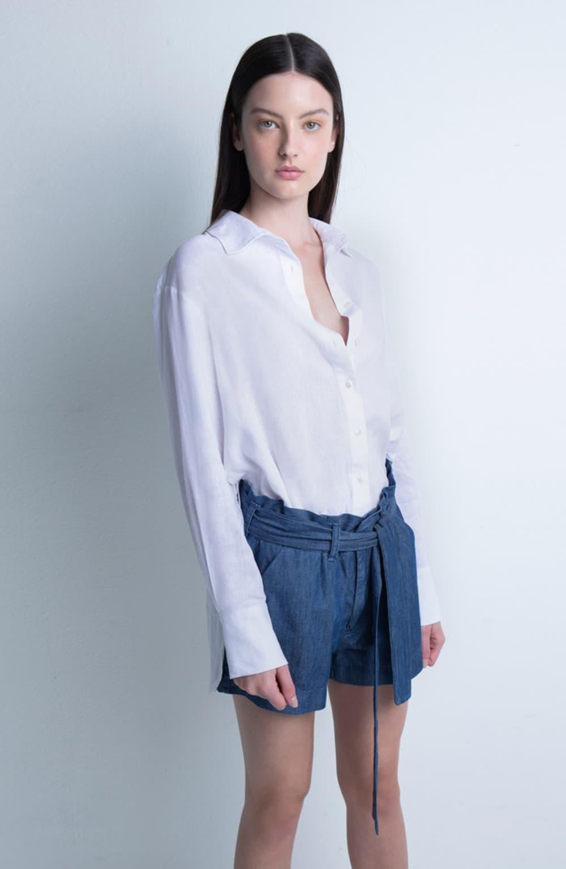 bermuda cintura alta jeans leve