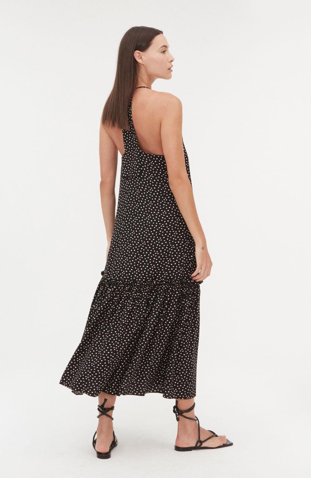 vestido midi de alcinha decote v com estampa em poá
