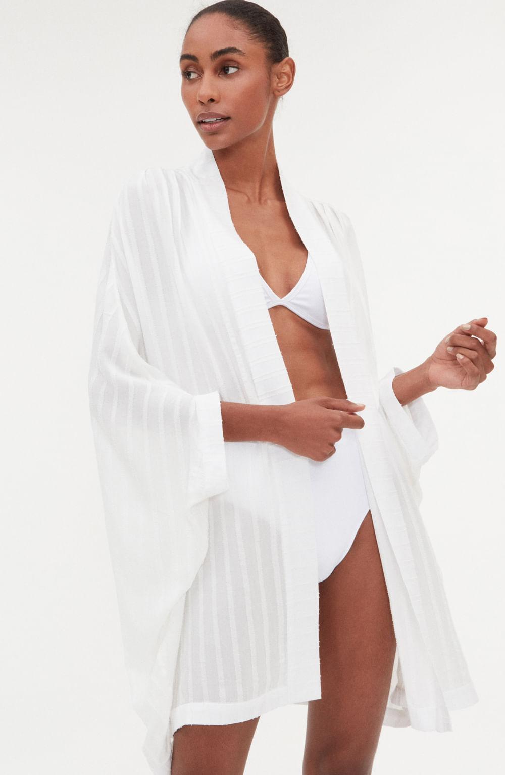 kimono branco manga longa