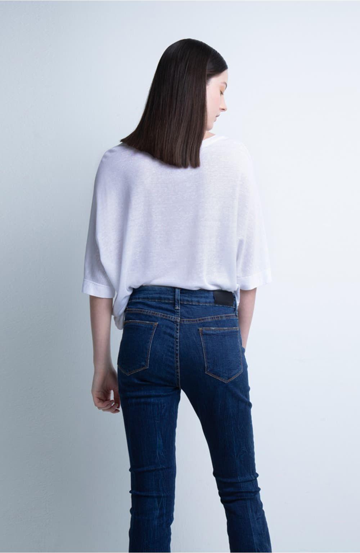 calça jeans slim lavangem média