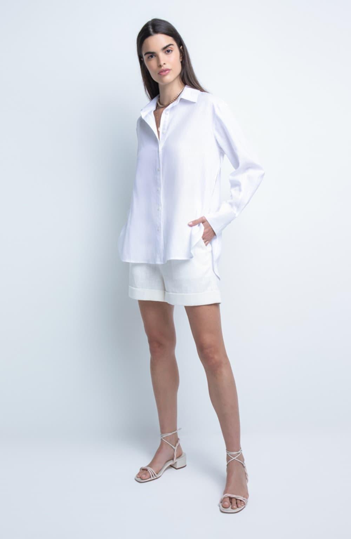 camisa branca linho oversized