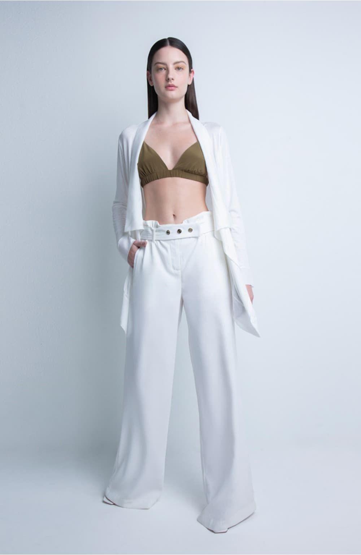 calça off white faixa costuras