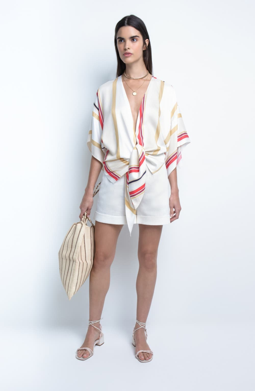 blusa listrada com amarração lara