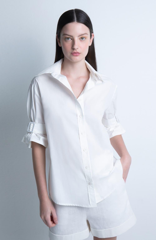 camisa off white manga curta detalhe fivela