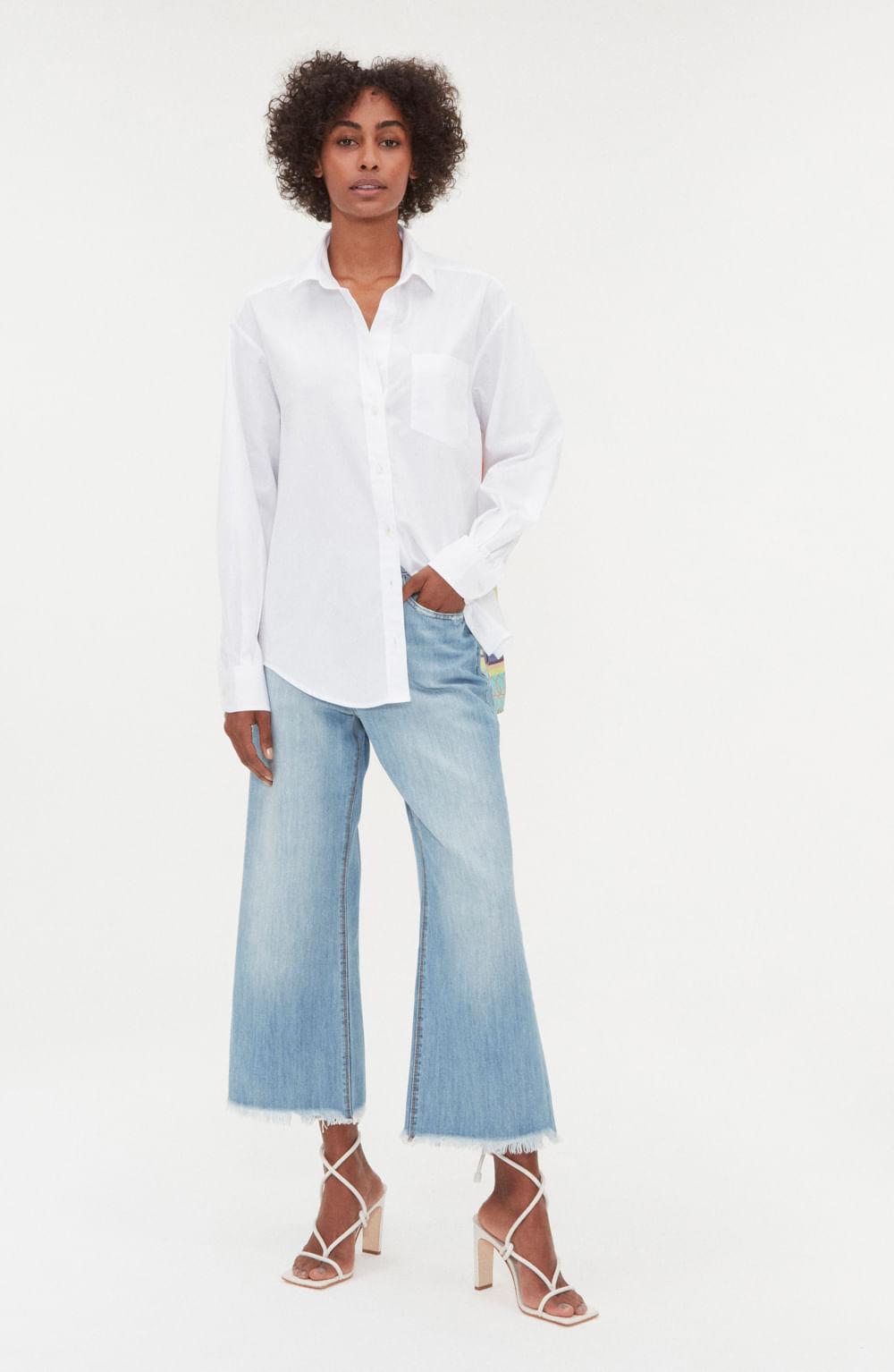 camisa branca de tricoline e seda