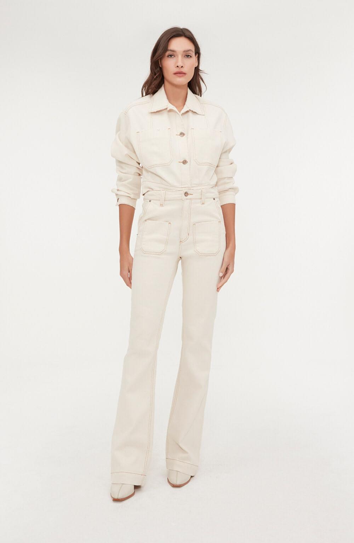 calça jeans branca wide bolso