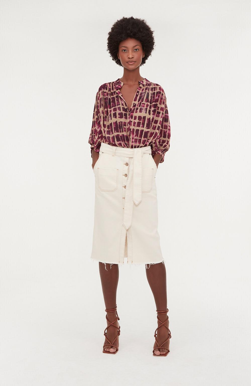 saia jeans branco mídi bolso