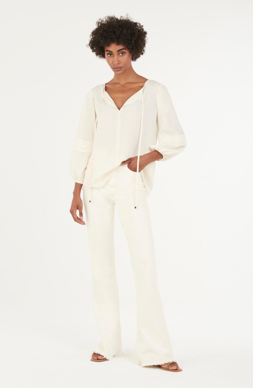 blusa de gola com pregas na manga off white