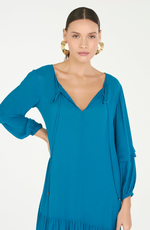 vestido midi c/ prega na manga azul