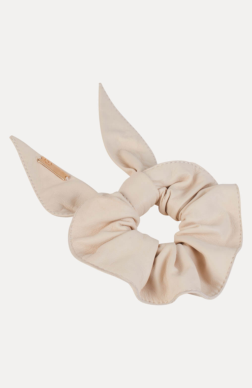 Scrunchie de couro off white