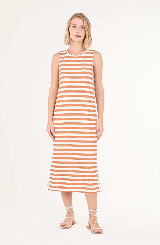 Vestido de malha listrada laranja