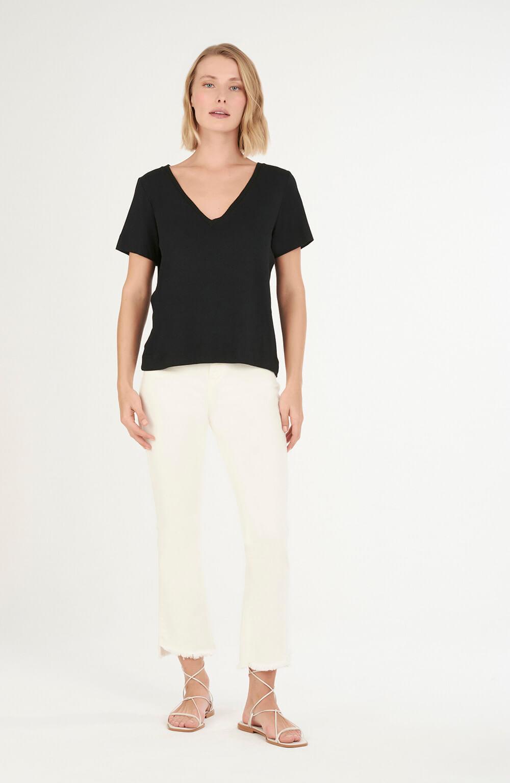 T-shirt decote v tricot preto